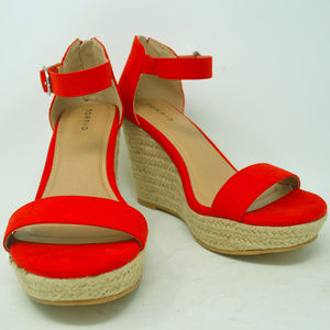 Torrid Women's Red Open Toe Espadrille Wedges